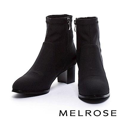 短靴 MELROSE 簡約車縫線設計彈力網布粗高跟短靴-黑