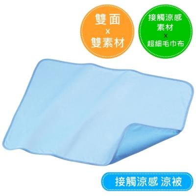 接觸涼感。雙面雙素材涼毯 (水藍色)