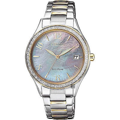 CITIZEN 星辰 光動能水晶女錶-珍珠貝x雙色版/33mm