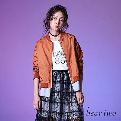 beartwo 假兩件時尚拼接輕薄外套(卡其色)