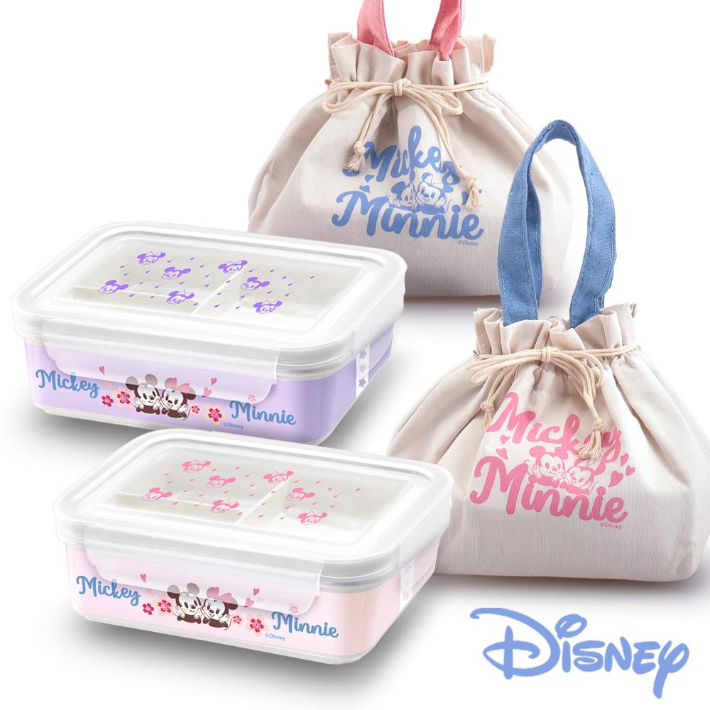 迪士尼Disney 櫻紛米奇陶瓷三格密封便當盒850ml-贈提袋(快)