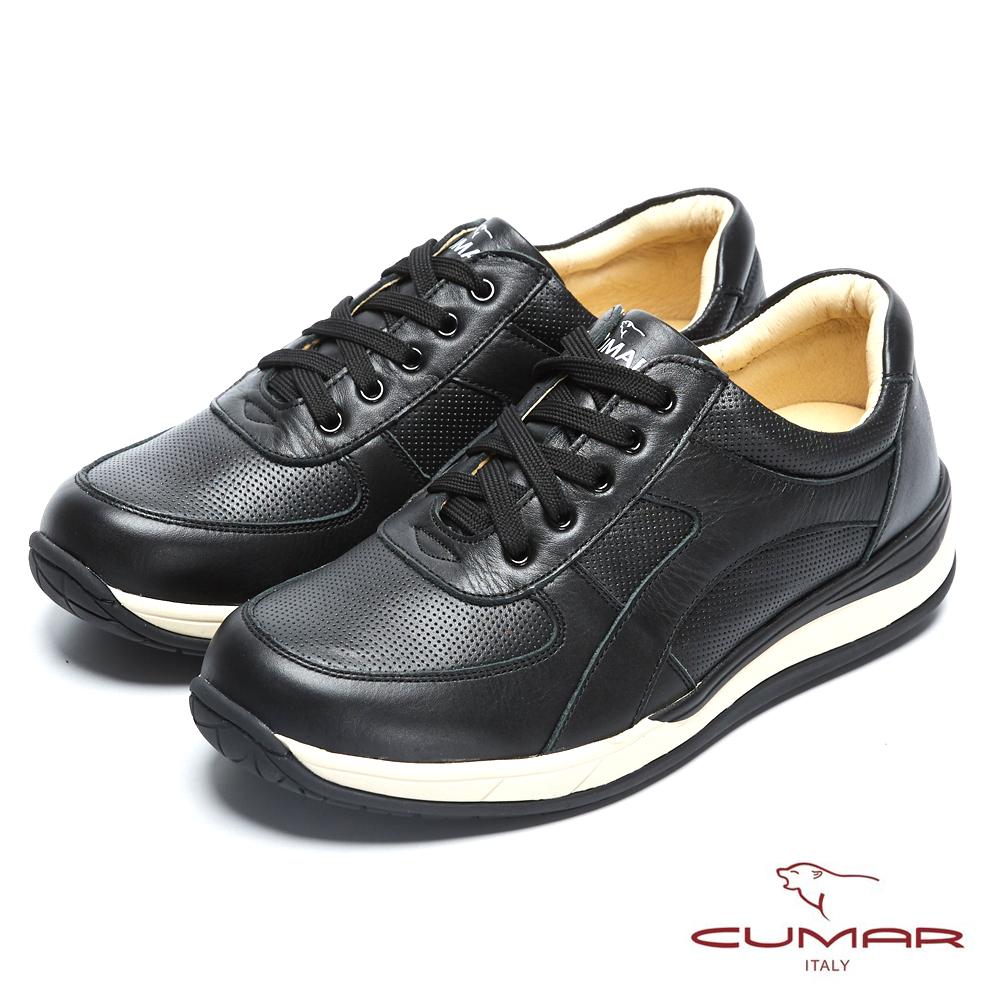 CUMAR 台灣製造 嚴選真皮舒適綁帶休閒鞋-黑