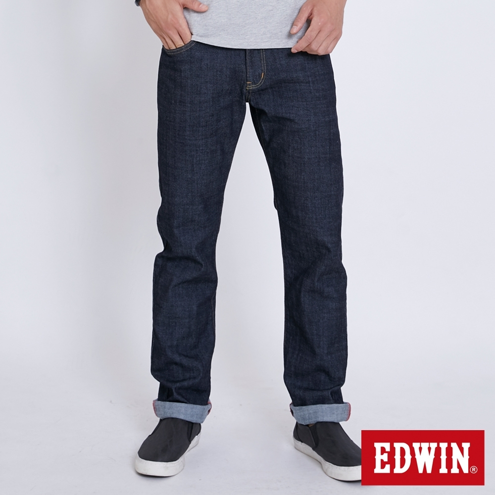 EDWIN EDGE 加大碼 復刻五袋紅線直筒牛仔長褲-男-原藍色