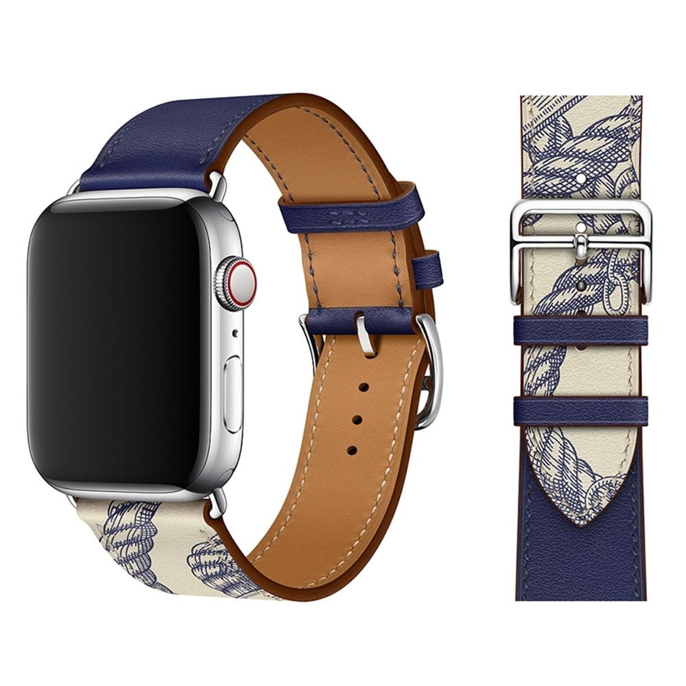 Apple Watch 1/2/3/4/5 真皮質商務錶帶 撞款腕帶