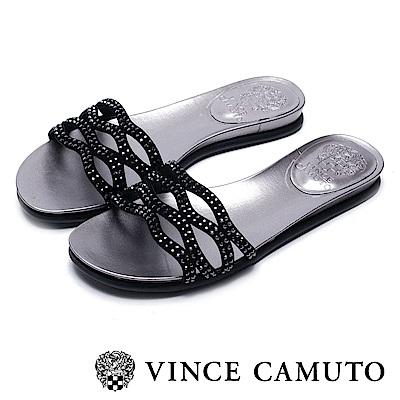 VINCE CAMUTO 簍空水鑽平底涼鞋-絨黑