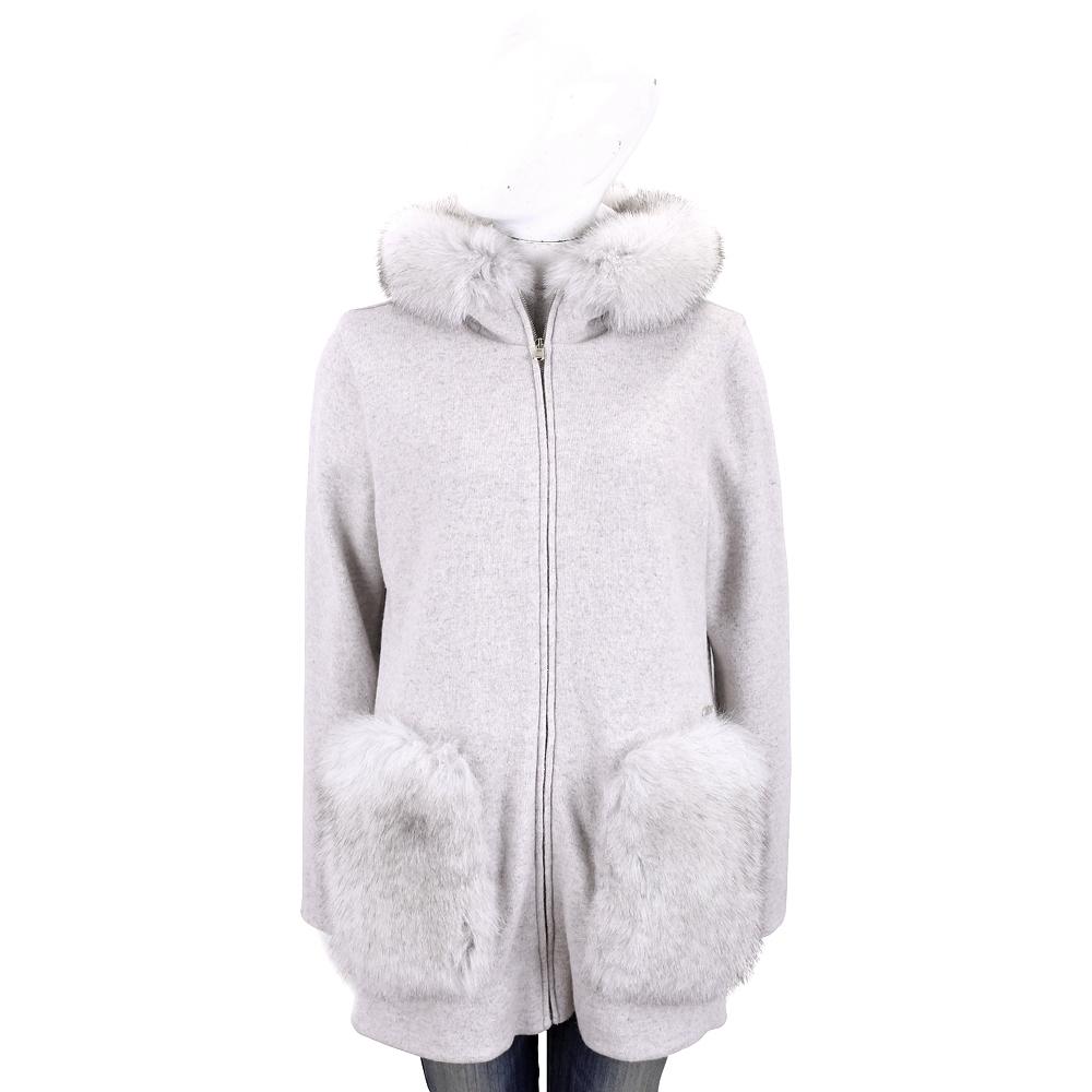 Woolrich 淺灰色狐狸毛拼接羊毛針織外套