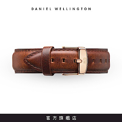 DW 錶帶 18mm金扣 紅棕真皮皮革錶帶