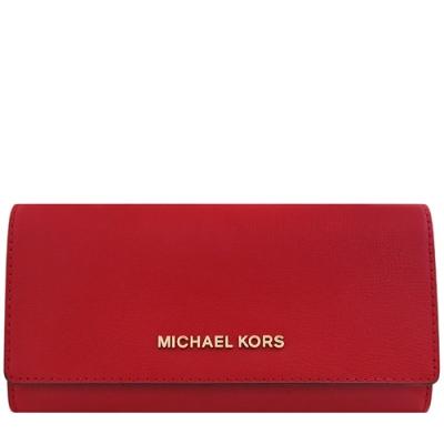 MICHAEL KORS Jet Set Travel 牛皮壓釦十卡長夾(紅色)