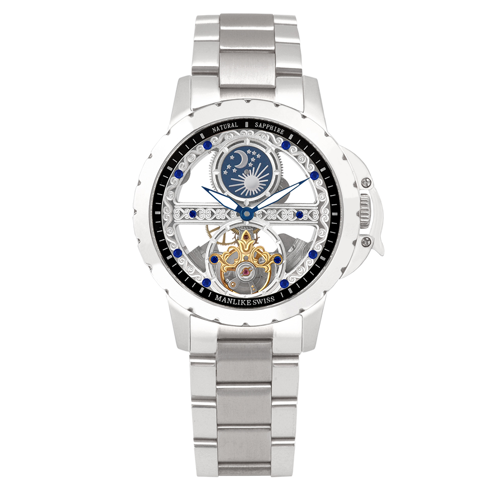 Manlike 曼莉萊克 藍寶石單橋鏤空雕花機械腕錶【銀色/鋼帶/黑面】