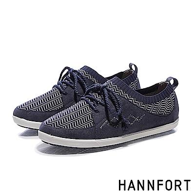 HANNFORT CALIFORNIA民族風針織麂皮休閒鞋-女-知性藍