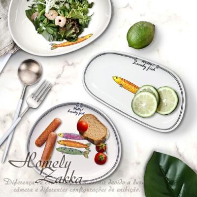 Homely Zakka 創意Lovely fish系列陶瓷餐具(盤碗5件組)