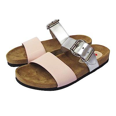 BESO 極簡時尚  質感寬帶線條平底涼拖鞋~粉