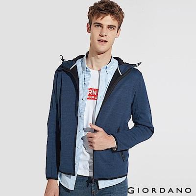 GIORDANO 男裝 fleece搖粒絨連帽防風外套-06 雪花仿段靛藍色
