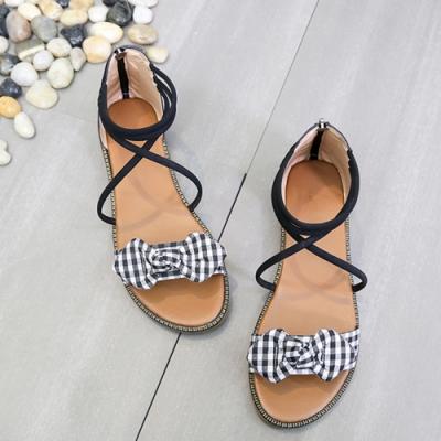 KEITH-WILL時尚鞋館 女神同款羅馬風平底涼鞋 黑