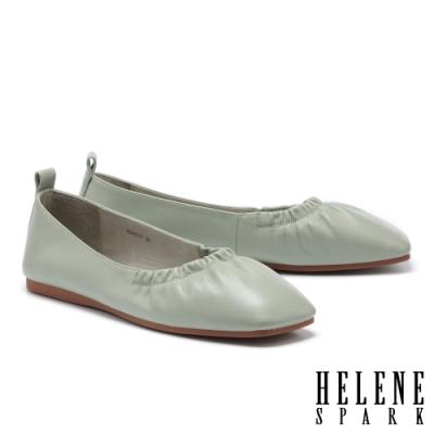 平底鞋 HELENE SPARK 極簡質感抓皺全真皮方頭平底鞋-綠