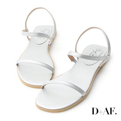D+AF 個性獨創.一字細帶繞踝平底涼鞋*銀