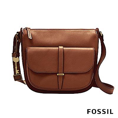 FOSSIL RYDER 咖啡色柔軟真皮西部牛仔大側背包