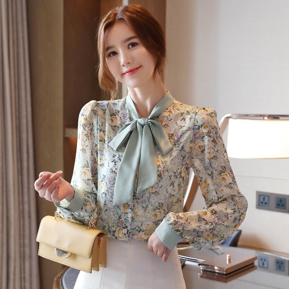 甜美蝴蝶領氣質印花雪紡衫S-2XL(共二色)-白色戀人