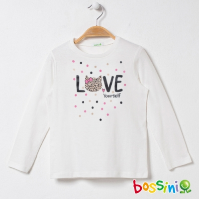 bossini女童-印花長袖T恤07奶白