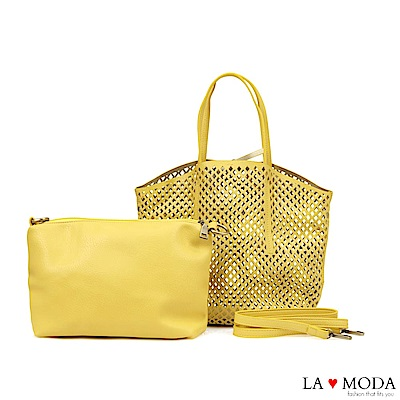 La Moda 經典設計款圓形沖孔大容量肩背斜背子母托特包(黃)