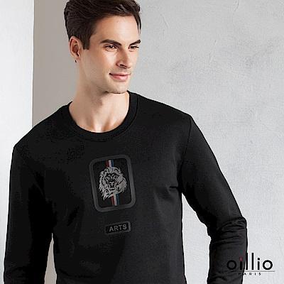 歐洲貴族 oillio 長袖T恤 簡約印花 縮口圓領衫 黑色