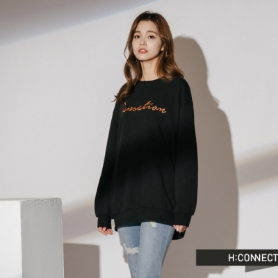 H:CONNECT 韓國品牌 女裝-休閒印字落肩大學T-黑
