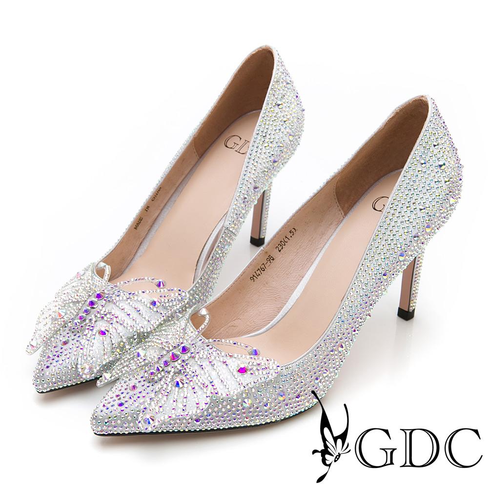 GDC-彩鑽迷蝶精靈媚娘特殊設計尖頭高跟鞋-銀色