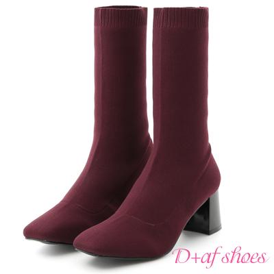 D+AF 時尚潮模.素面彈力針織高跟襪靴*酒紅