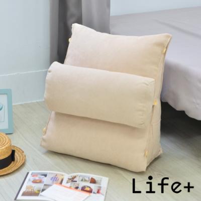 Life Plus 極簡風尚 舒壓萬用棉麻靠枕/抱枕/腰靠枕 (卡其)