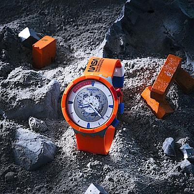 SWATCH NASA限定聯名款 BIG BOLD系列手錶LAUNCH 橙色風暴(47mm)