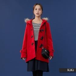 【KiKi】牛角扣連帽毛呢-大衣(紅色)