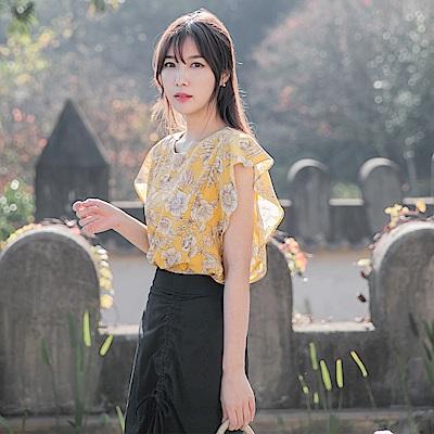 春感印花造型荷葉連袖上衣-OB大尺碼