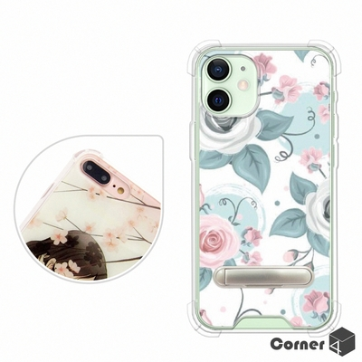 Corner4 iPhone 12 mini 5.4吋 四角防摔立架手機殼-童話玫瑰