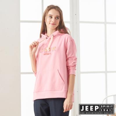 JEEP 女裝 彩色LOGO刺繡長袖帽TEE -粉色