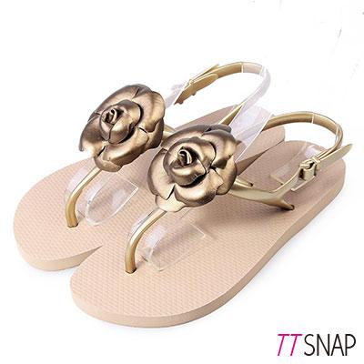 TTSNAP涼鞋-MIT山茶花小香夾腳防水鞋 金