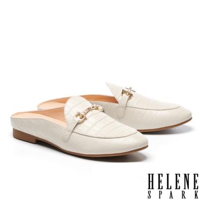 穆勒鞋 HELENE SPARK 時尚品味晶鑽馬銜釦低跟穆勒拖鞋-米