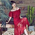 DABI 韓國風氣質修身顯瘦一字領紅色蕾絲禮服短袖洋裝