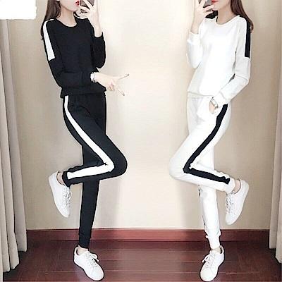 DABI 韓系運動線條時尚套裝長袖褲裝