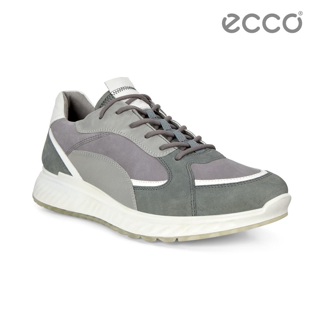 ECCO ST.1 M 舒適動能撞色皮革運動休閒鞋 男-灰藍/灰/白