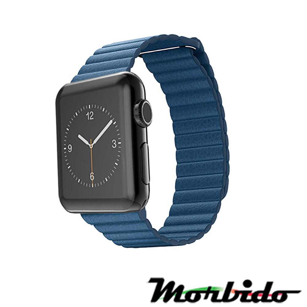 Morbido蒙彼多 Apple Watch 38mm皮製錶帶 矢車菊藍