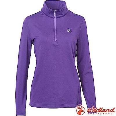 Wildland 荒野 0A62617-53紫色 女咖啡紗抗菌保暖上衣