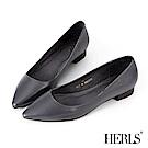 HERLS 自信女人 全真皮素面尖頭低跟鞋-灰藍色
