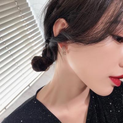 梨花HaNA 韓國雙層水鑽歐美百搭夜店存在感耳環