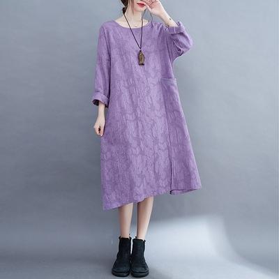 【KISSDIAMOND】文青提花設計圓領洋裝(KDD-8754)