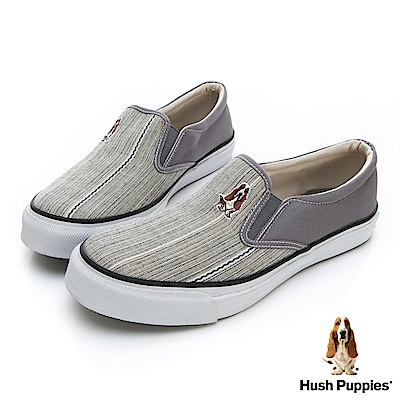 Hush Puppies 極簡民族風咖啡紗懶人便鞋-灰