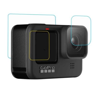GoPro HERO9 相機鏡頭+(前後)雙螢幕 鋼化玻璃膜 螢幕貼-3片裝