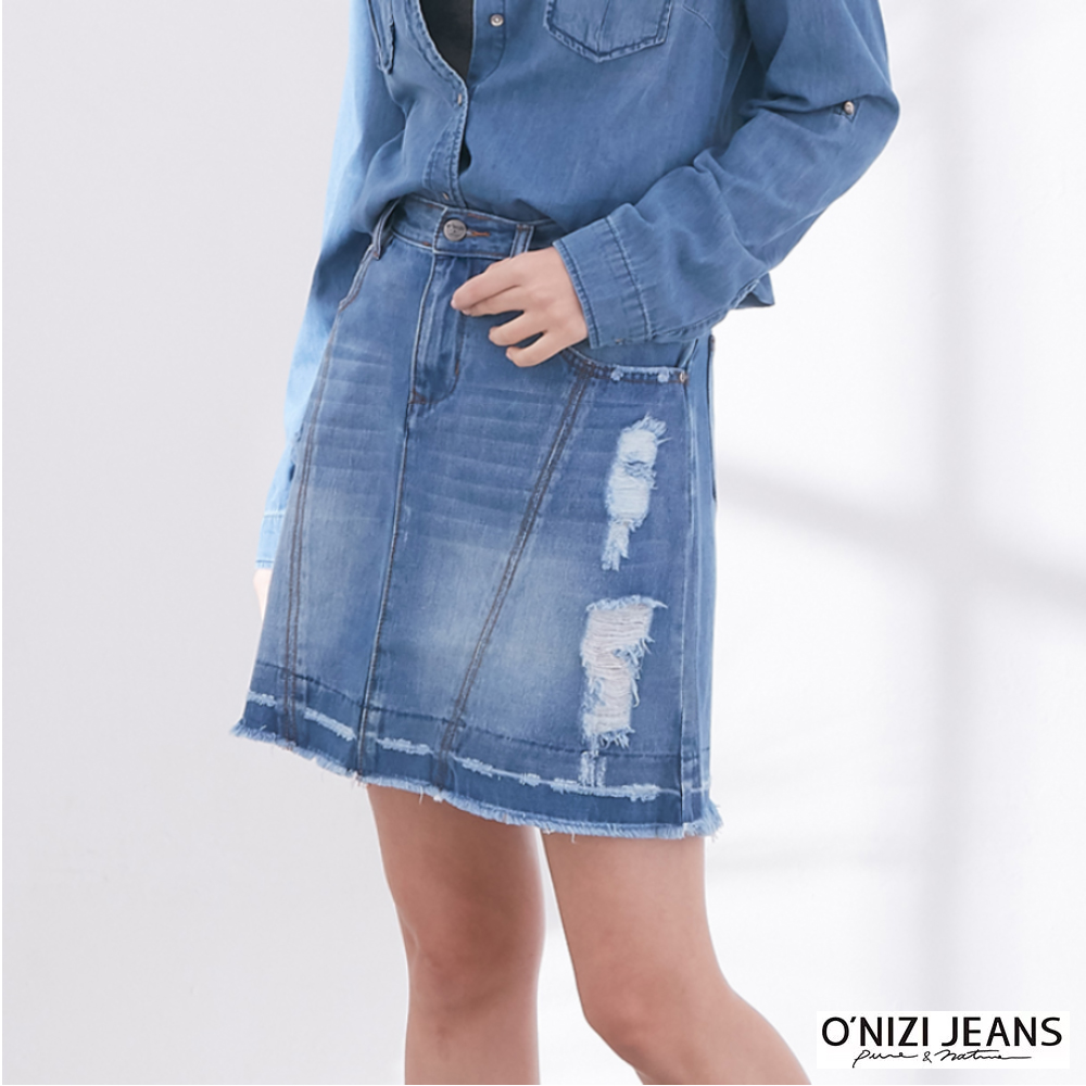onizi-高腰抽鬚牛仔裙-女-藍