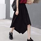 La Belleza素色鬆緊腰下擺開叉不規則不對稱排釦中長裙