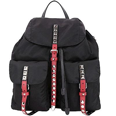 PRADA 火紅撞色皮革鉚釘尼龍後背包