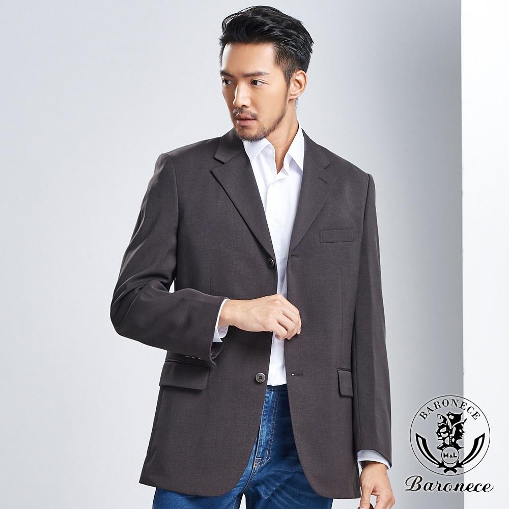 BARONECE 百諾禮士 時尚品格修身百搭西裝外套_黑棕(605320-07)